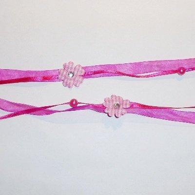 Dubbel lint met bloem donker roze
