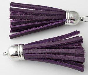 metal look hanger/imitatieleer kwast paars