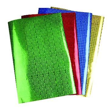 Papier holografisch rood met blokjes A4