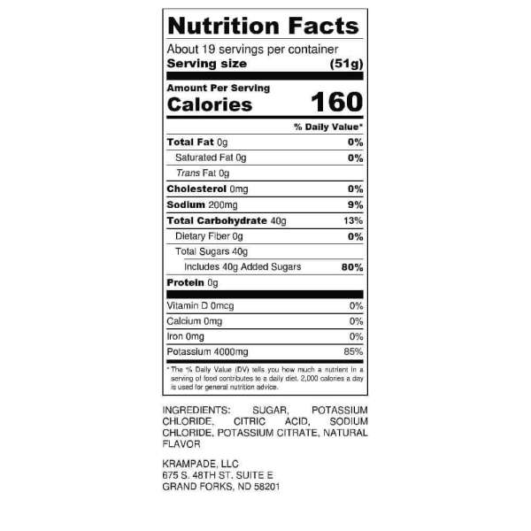 Krampade 4K Nutrition Label High Potassium