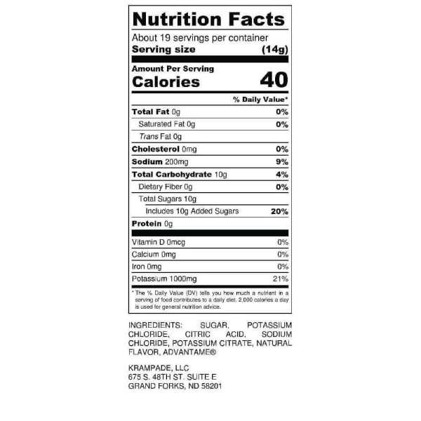 Krampade 1K Reduced Sugar Nutrition Label Low Sugar High Potassium