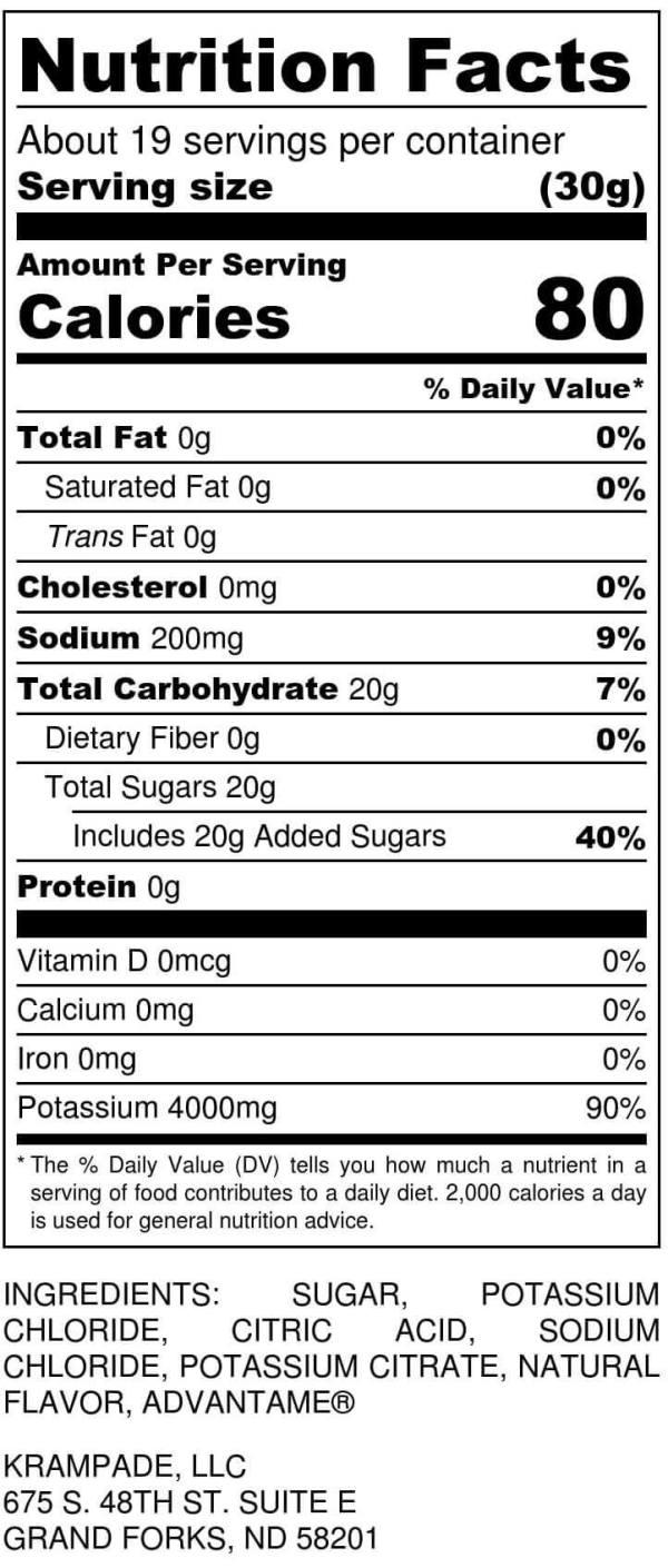 Krampade 4Krs lemon lime electrolyte replacement powdered sports drink nutrition label