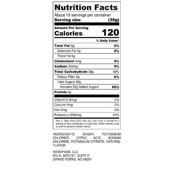 Krampade 2K Nutrition Label High Potassium Sports Drink Hydration Electrolytes Recovery