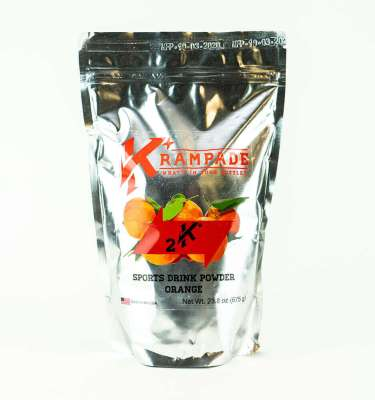 Krampade Original 2K orange flavor, 19 serving resealable pouch, 2000 mg of potassium per serving, designed for athletes as an alternative sports drink to traditional sports drinks