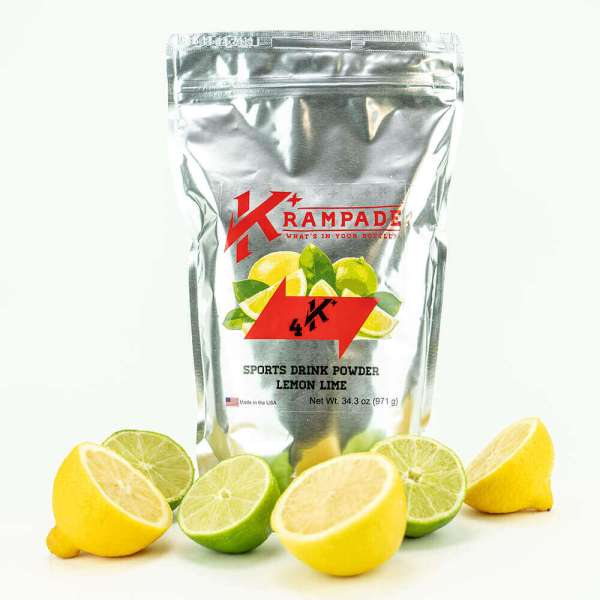 Krampade Original 4K lemon lime flavor, 19 serving resealable pouch, 4000 mg of potassium per serving, designed for acute, active cramping commonly associated with athletics and athletes, instant cramp relief