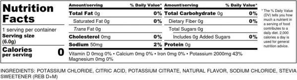 krampade 2.0 lemon-lime zero nutrition label 2000 mg potassium, 50 mg magnesium, 50 mg sodium, 0 sugar