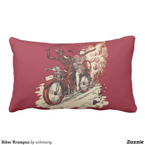 Biker Krampus Throw Pillow