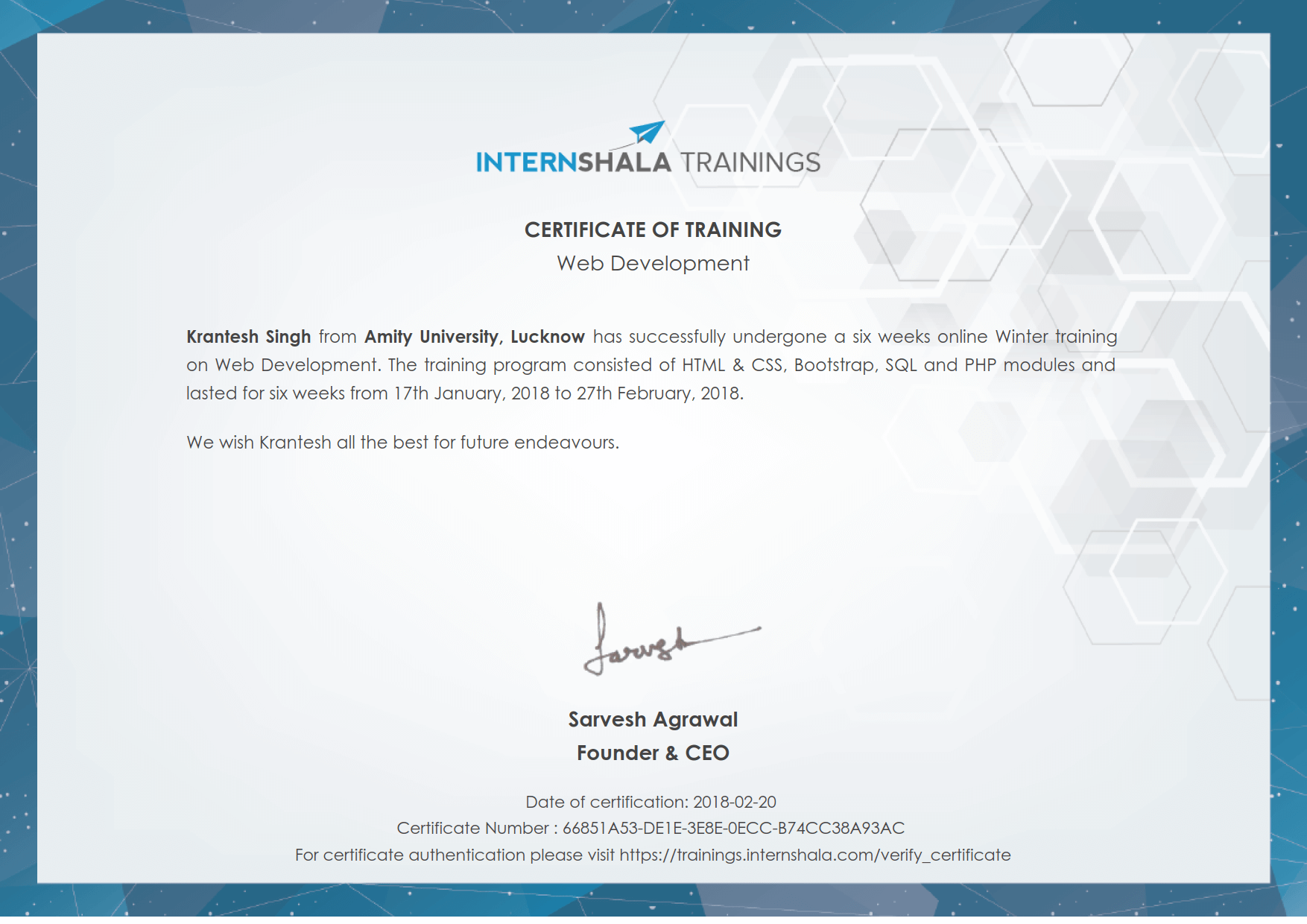 Web Development Training Certificate