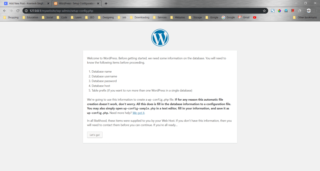 Setting up WordPress configuration