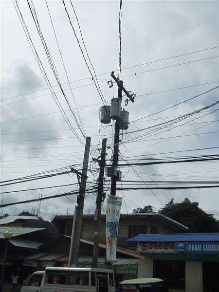 Dráty elektrického vedení.
