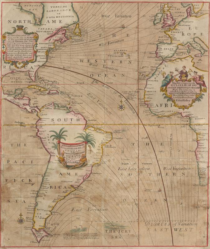 Obr. 14: Halleyova mapa hodnot magnetické variace v Atlantiku z roku 1701.