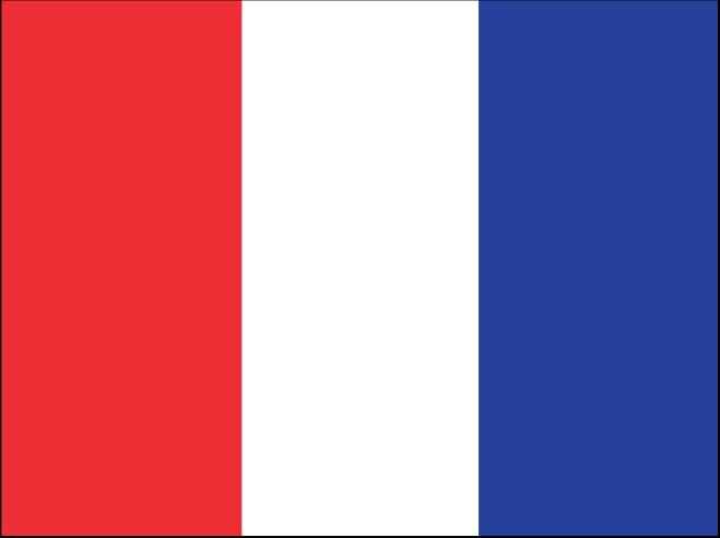 """Vlajka """"T"""" připomíná francouzskou vlajku s obráceným pořadím barev."""