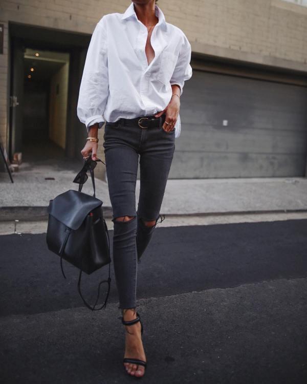 13 идей сочетания белой рубашки с джинсами, которые ...