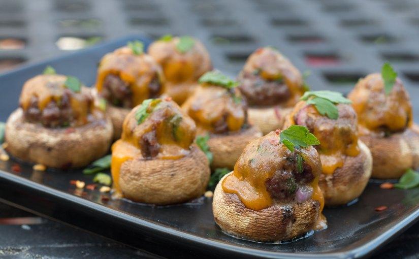 Mini Meatball Stuffed Mushrooms