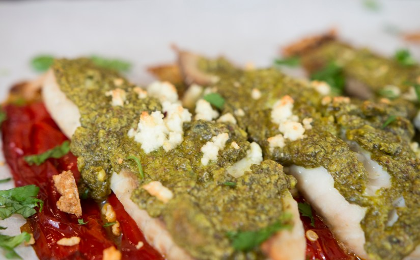 Pistachio Pesto on Tilapa with Red Pepper