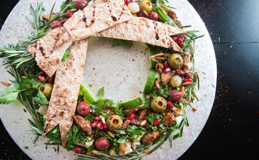Edible HUMMUS HOLIDAY wreath