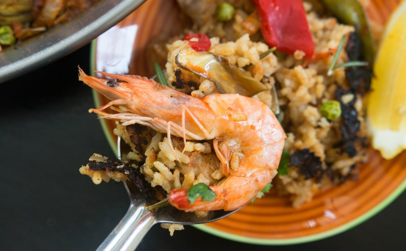 PAELLA – Chicken & Shrimp with SAFFRON & BOMBA rice