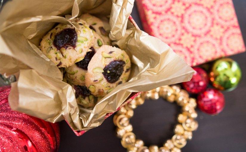 Pistachio & Blackcurrant Thumbprint Cookies