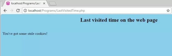 PHP code to display last visited time on the web page - initial state