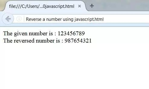 Output of a reversed number