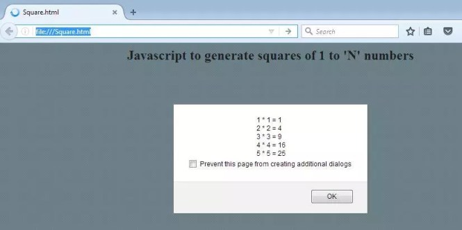 Javascript to generate squares of n numbers - Output