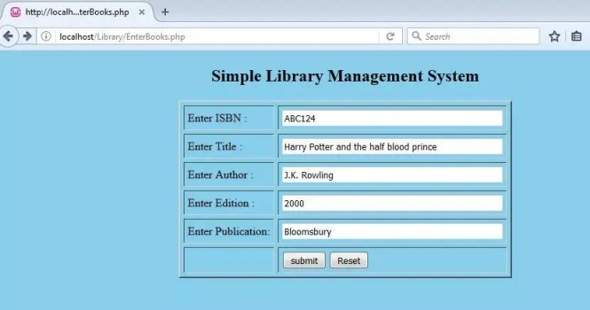 Enter book details for a Library Management System