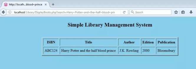 Searched book details in Library Management System