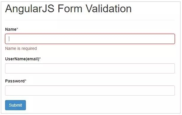 Form validation in AngularJS - Name field empty