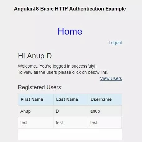 Display Registered Users list in AngularJS