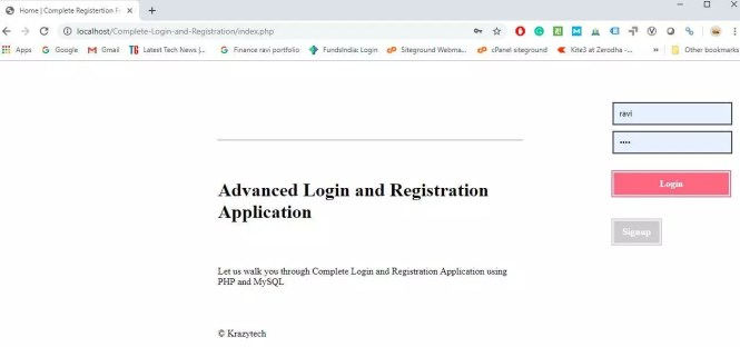 Login and Registration Application using PHP and MySQL
