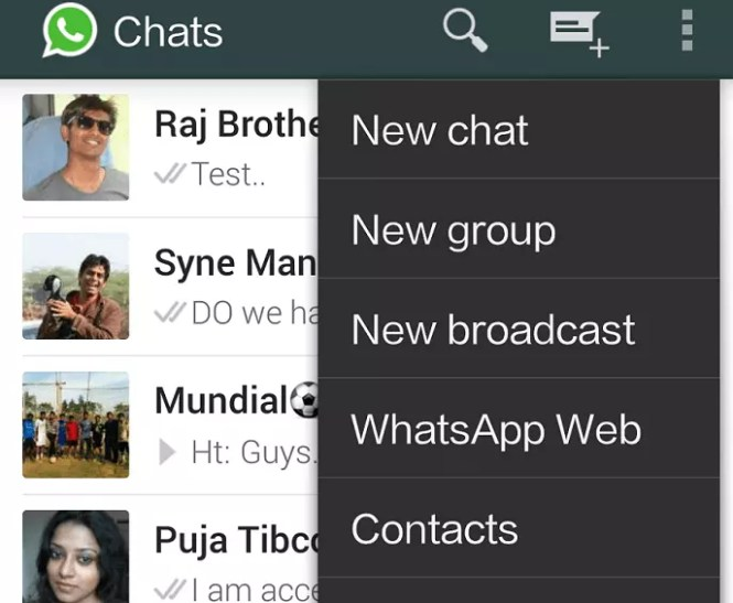WhatsApp on web browser - go to menu and then whatsapp web