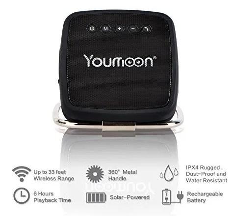 Youmoon Solar powered Portable Wireless Bluetooth Speaker