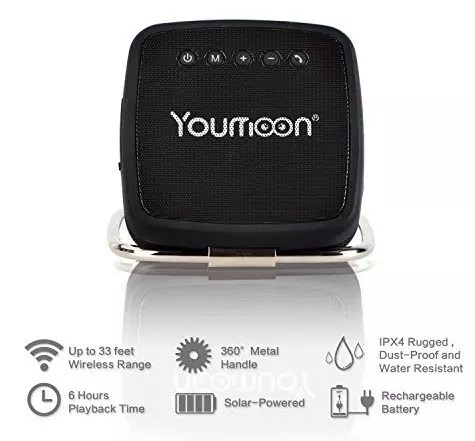 Youmoon Solar powered Portable Wireless Bluetooth Speaker