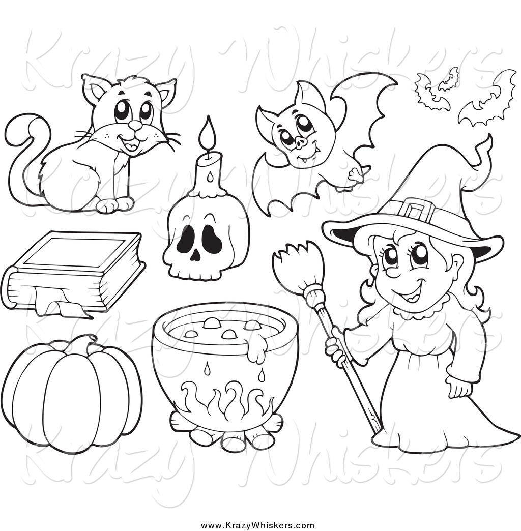 Critter Clipart Of A Black And White Witch And Halloween