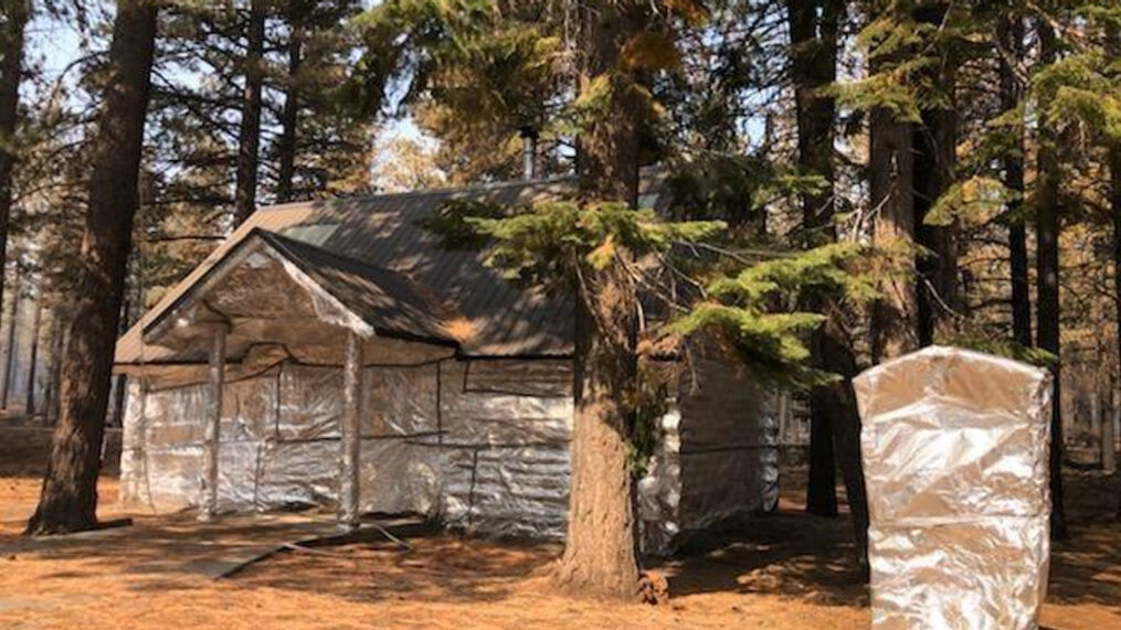 <p>Snowmobile Shed at Four Corners on  September 12, 2021. (US Forest Service // Klamath National Forest){/p}