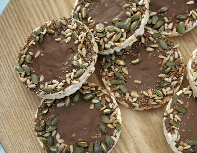 Dark Chocolate Covered Rice Cakes with Mixed Seeds