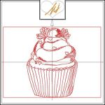 Redwork Cupcake