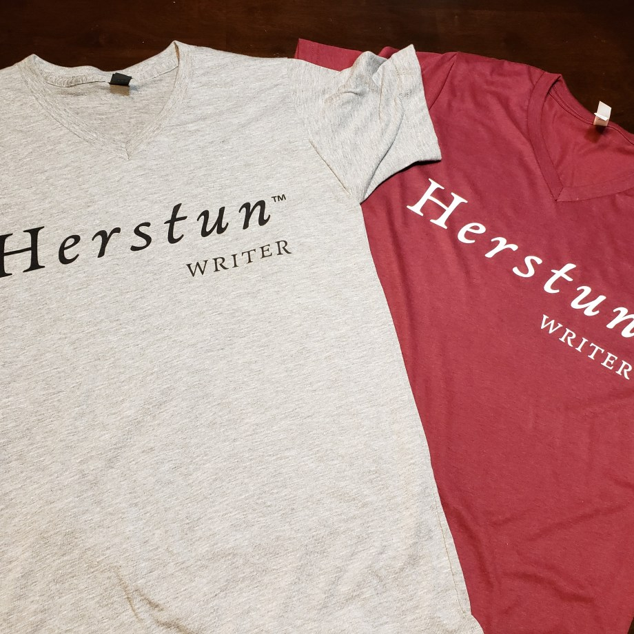 Herstun Writer screen print t-shirts in two colors
