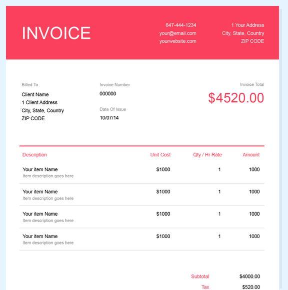 Invoice Template von FreshBooks