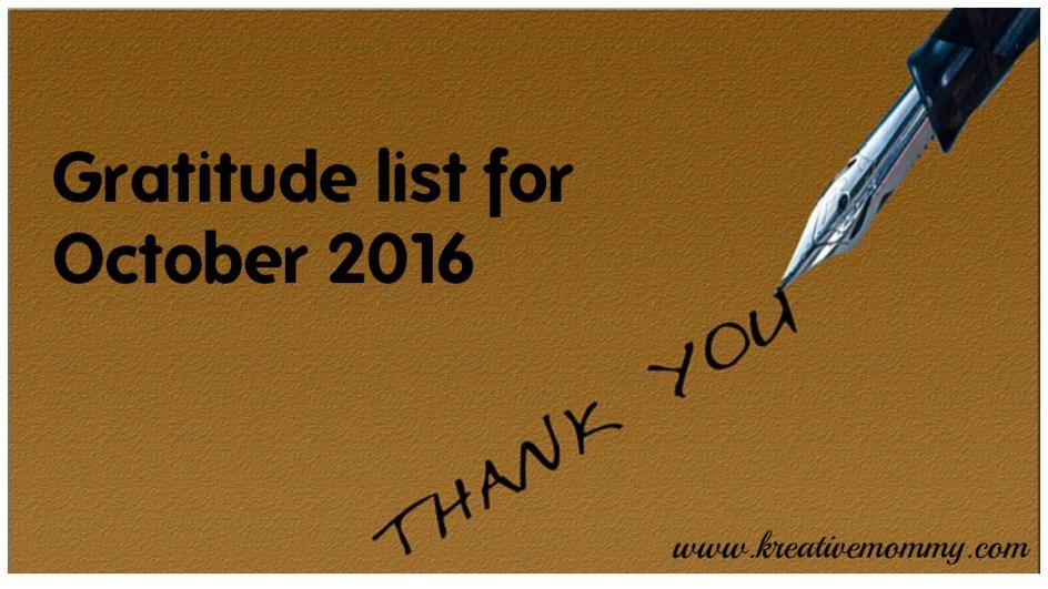 Gratitude list