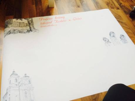 Jak jsme postupně nalepovali lístečky na plátno