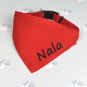 Hundehalsband Blau Rot - mit Name - Beispiel