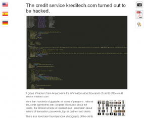 A screen shot of the Tor site that links to the documents stolen from Kreditech.