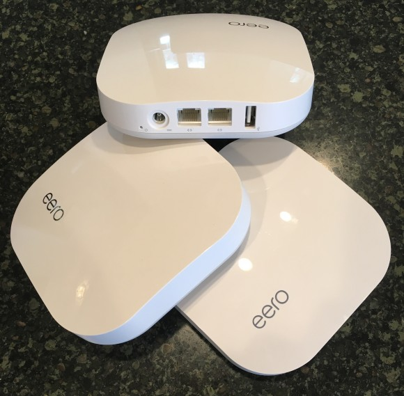 """Three eero devices designed to create a """"mesh"""" wireless network with extended range without compromising speed."""