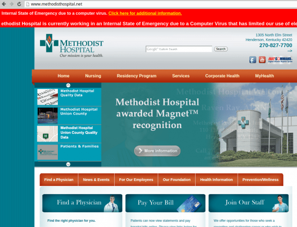 A streaming red banner on Methodisthospital.net warns that a computer virus infection has limited the hospital's use of electronic web-based services.