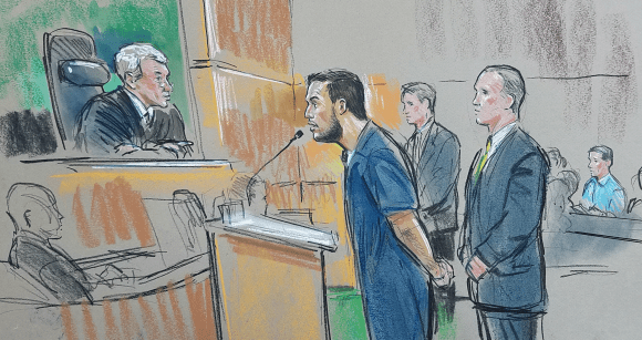 Mir Islam, at his sentencing hearing today. Sketches copyright by Hennessy / CourtroomArt.com