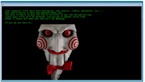 Part of the ransom note left behind by Jigsaw. Image: Bleepingcomputer.com