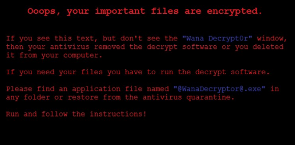 The ransom note left behind on computers infected with the Wanna Decryptor ransomware strain. Image: BleepingComputer.