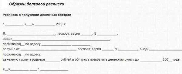 Правила оформления расписки для получения денег в долг у