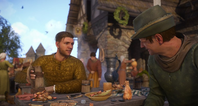 Picture of the protagonist talking to the local executioner in a friendly manner at a tavern